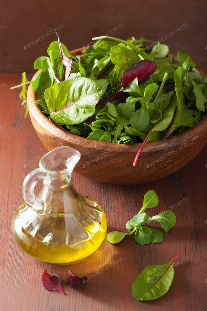 fresh salad leaves in bowl spinach mangold ruccola