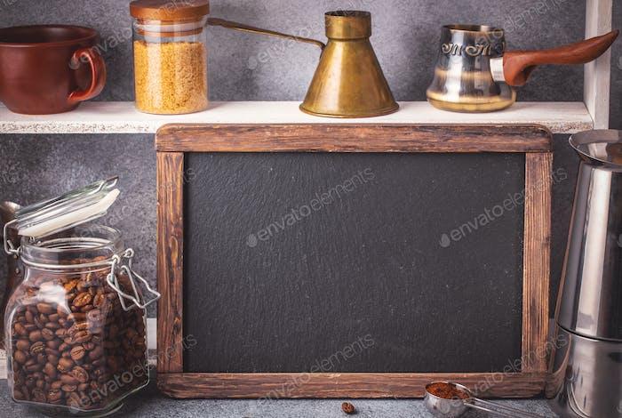 Blackboard and coffee making accessories