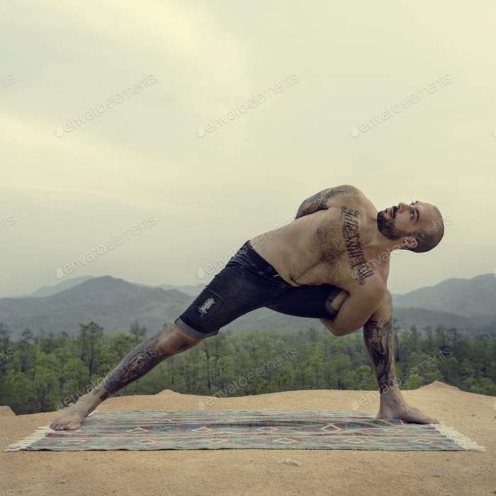 Man Doing Yoga Exercise Concept