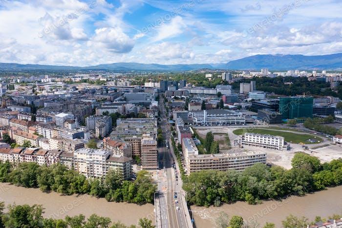 Aerial view of  plainpalais in Geneva - Switzerland