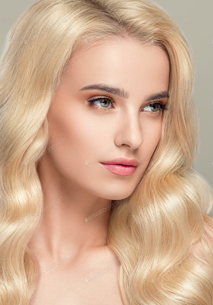 Blonde beauty Female Young Model Natural mke Up Healthy Skin