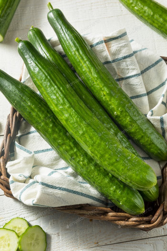Healthy Organic Green English Cucumbers