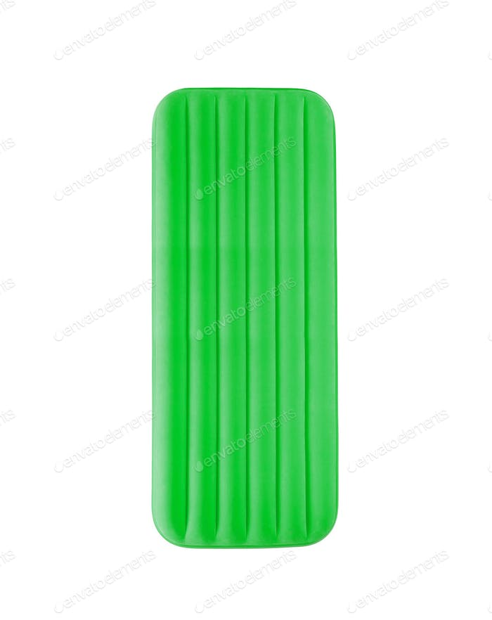Green floating pool raft isolated on white