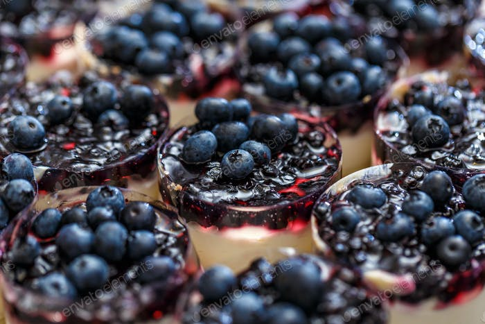 Mini-cheesecakes decorated with blueberries