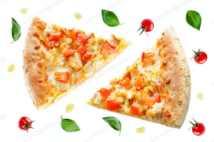 Pizza with cheese, chicken and fresh tomato slices