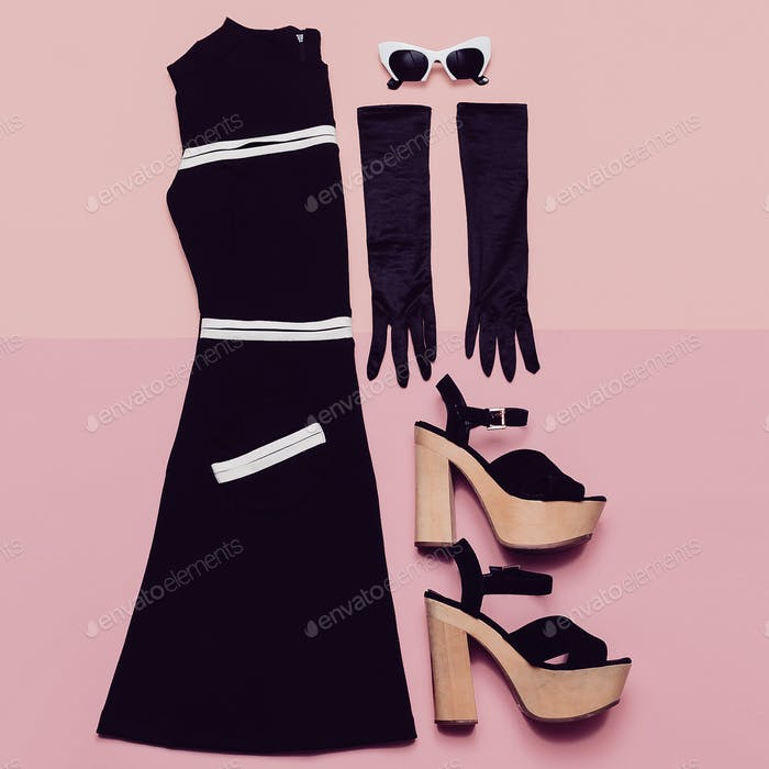 Black Vintage Dress and Accessories. Mademoiselle style. Gloves,