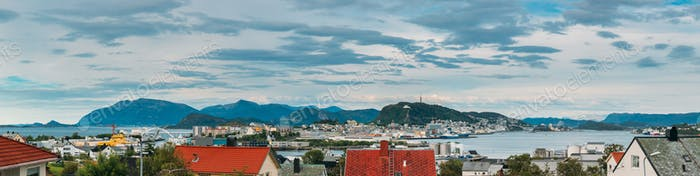 Alesund, Norway. Alesund Skyline Cityscape And Port Terminal