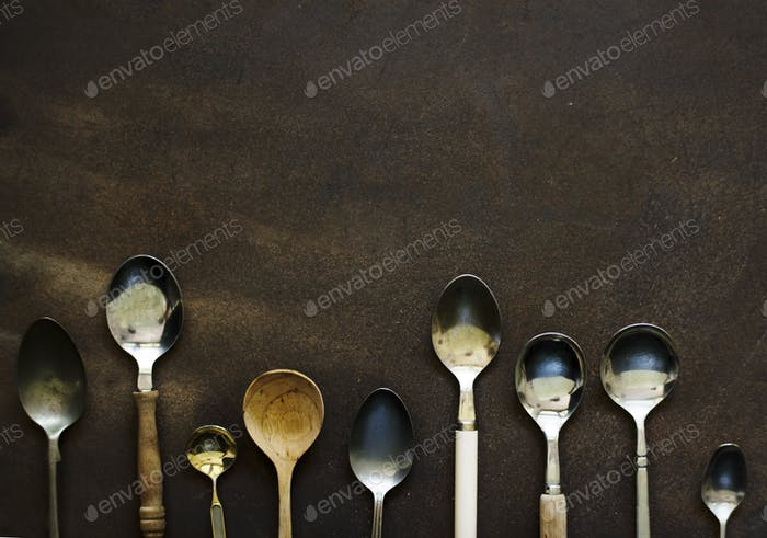 Different kind of spoon isolated on background