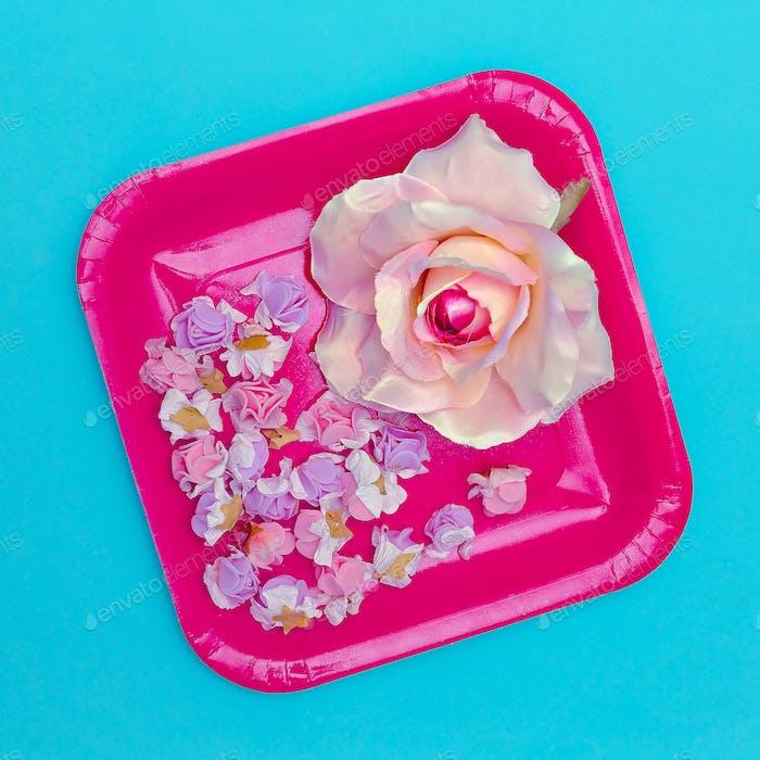 Roses flowers .Flat lay minimal art