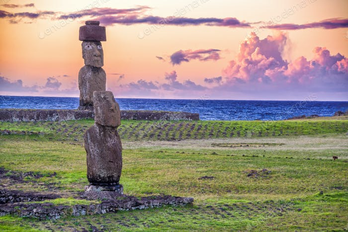 Moai Statues at Sunset