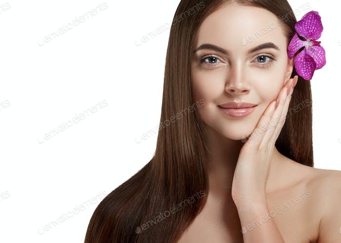 Flower sensual curly teen beauty girl face portrait. Beautiful spa model woman perfect