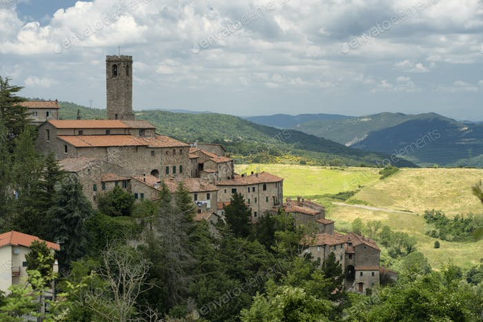 Panoramablick auf Castelnuovo di Val di Cecina, Toskana