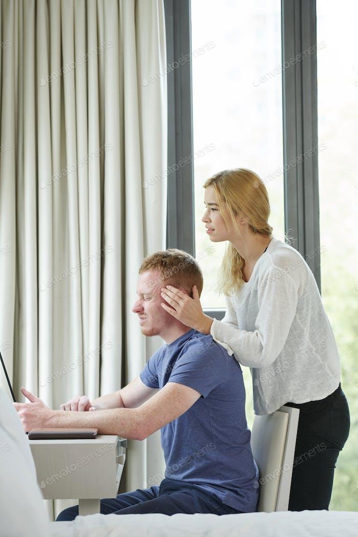 Woman Giving Head Massage to Boyfriend