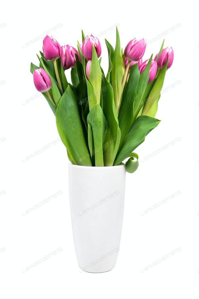 Blumenstrauß rosa Tulpen in einer Vase