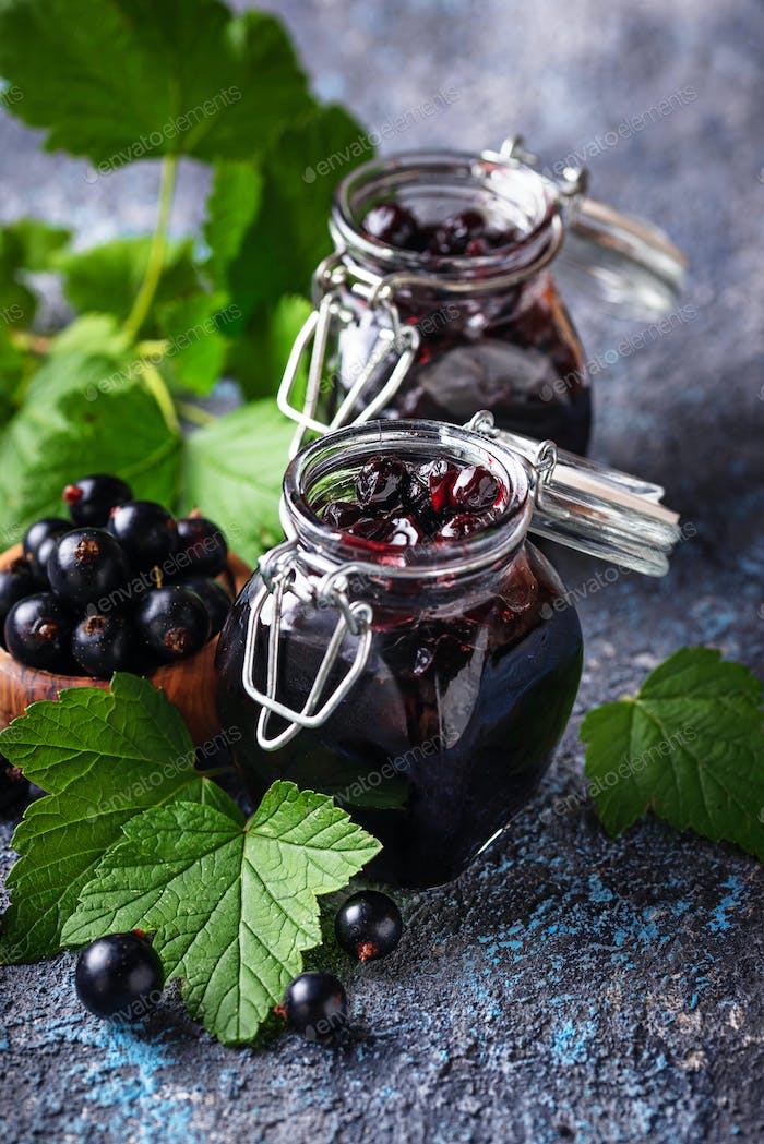 Black currant jam in jar