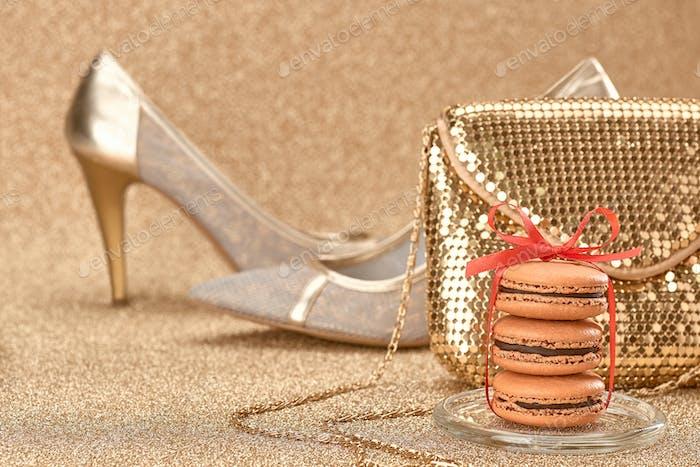 High heels, handbag