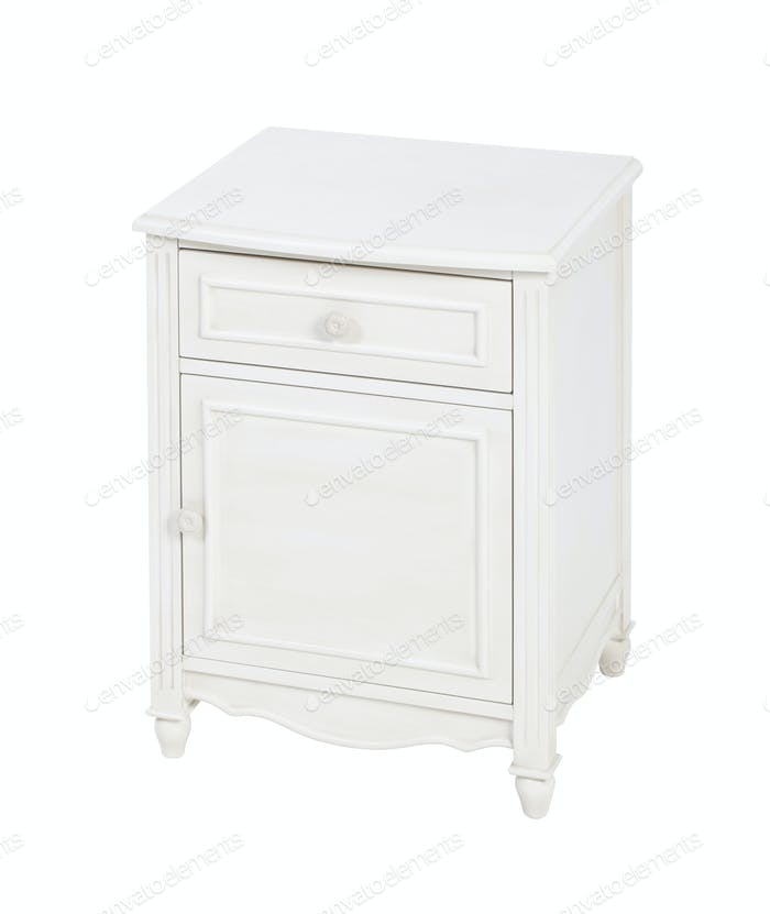 Elegant wooden nightstand isolated over white.