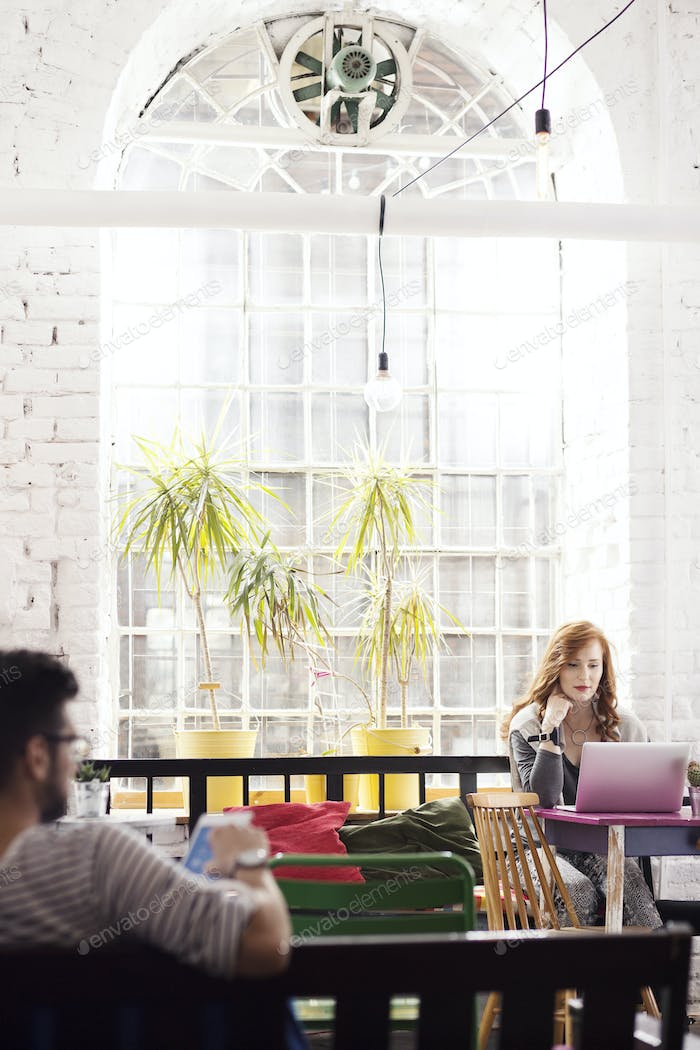 Woman working as freelancer in interior