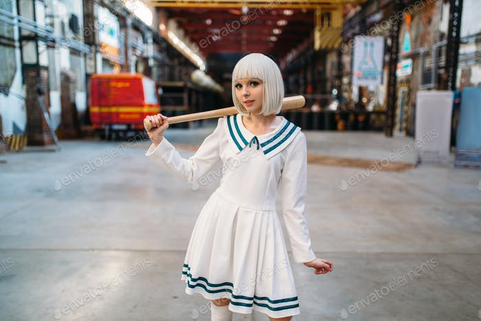 Cute anime style blonde girl with baseball bat