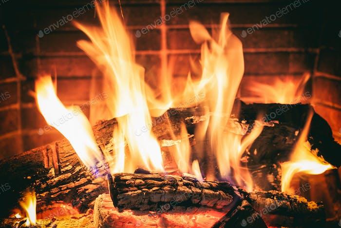 Protokolle brennen in einem Kamin