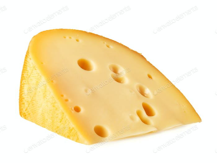 Piece of cheese lying on its side