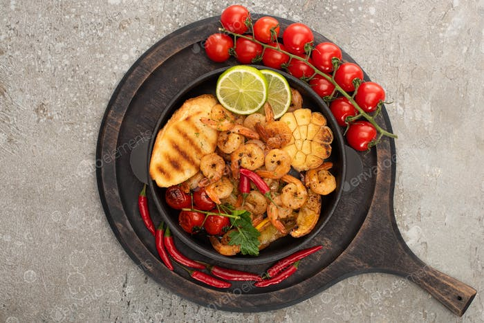 top view of fried shrimps with grilled toasts