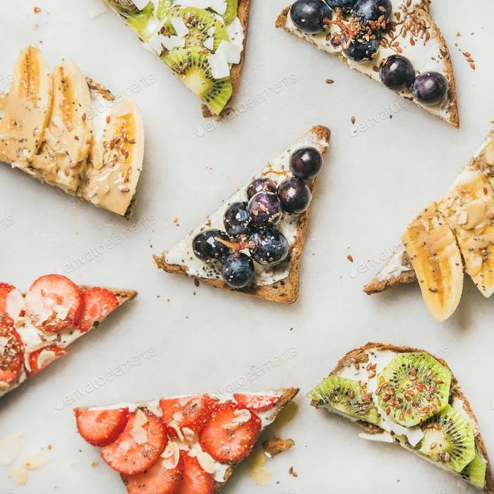 Healthy breakfast toasts cut in pieces, square crop