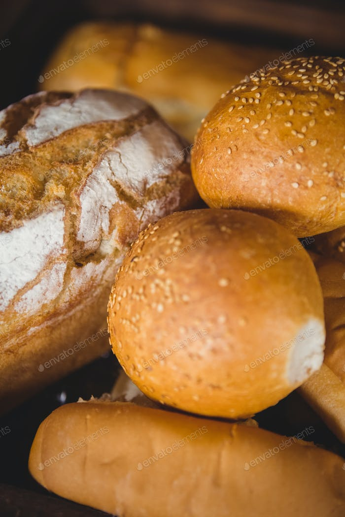 Close up view of bread at coffee shop