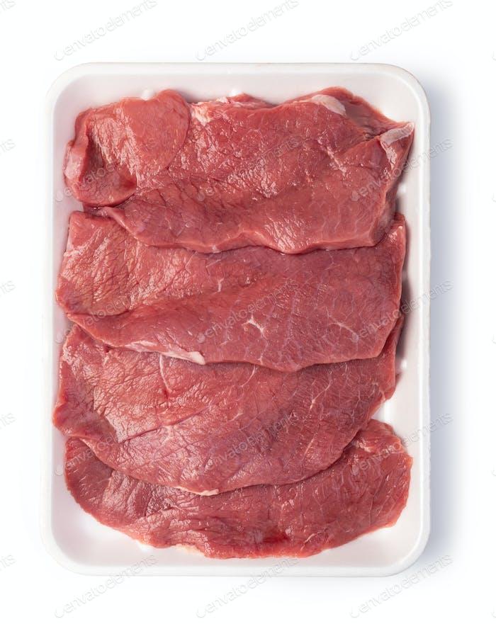 rohes Rindfleisch Steak isoliert auf weißem Hintergrund