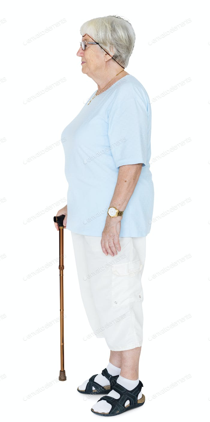 Side portrait of an elderly woman isolated on white background