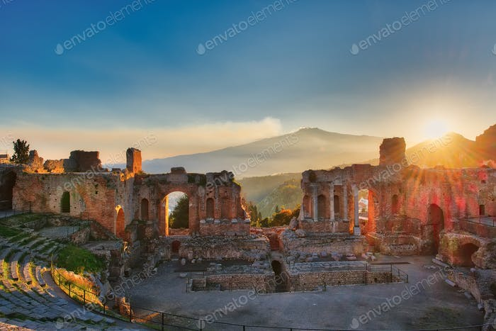 Particular of Ancient theatre of Taormina
