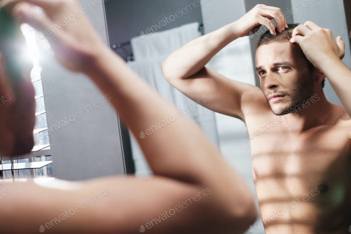 Gay Man Worried For Hair Loss Alopecia In Home Bathroom