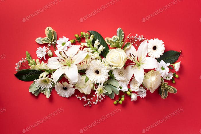 Spring composition of white flowers on red paper background with copy space. Creative layout. Flat