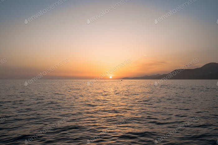 Sunrise over the sea and beautiful seascape.