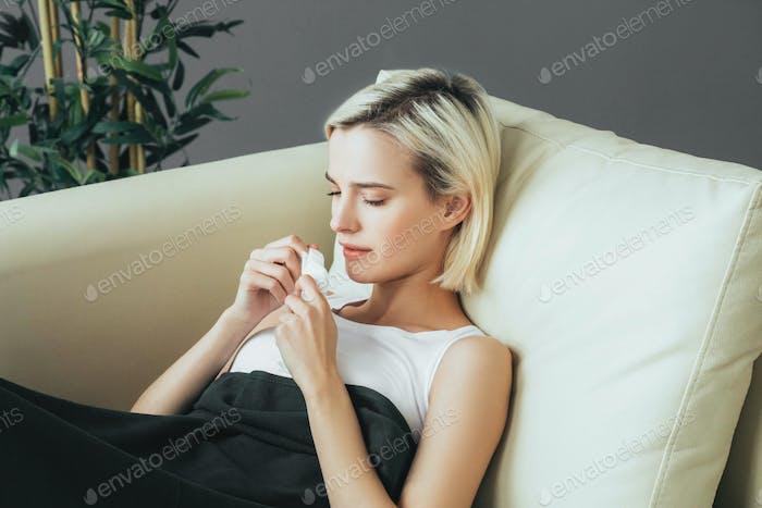 Woman sick in bed. Female portrait ill  in bedroom