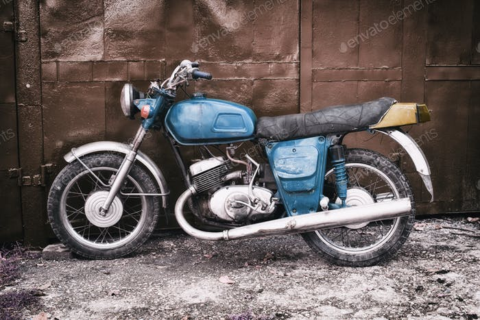 Old Blue Motorcycle.