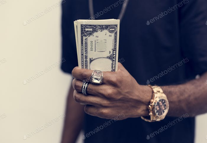 African holding cash