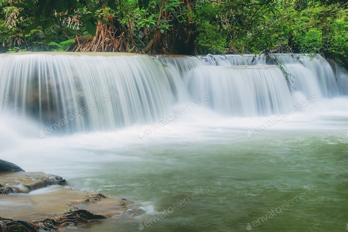 waterfall with beautiful of natural