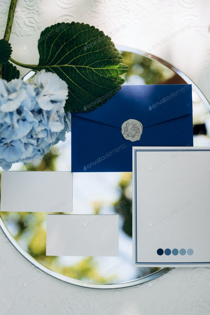 wedding invitation in a gray envelope on a table with green sprigs