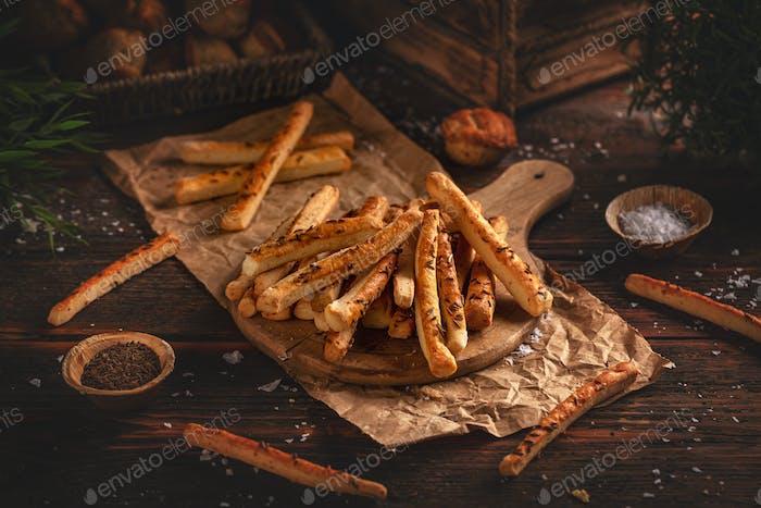 Homemade sticks with cumin seeds