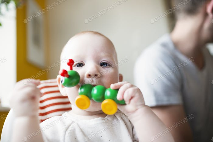 Portrait of cute baby girl biting toy with father in background at home