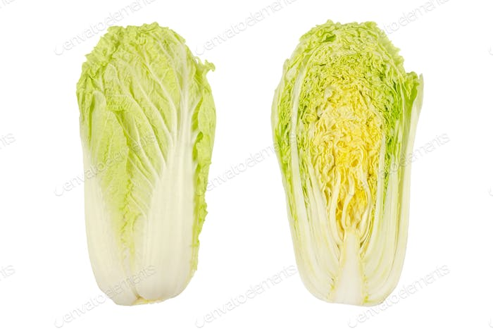 Napa cabbage, whole and half, Chinese cabbage, top view