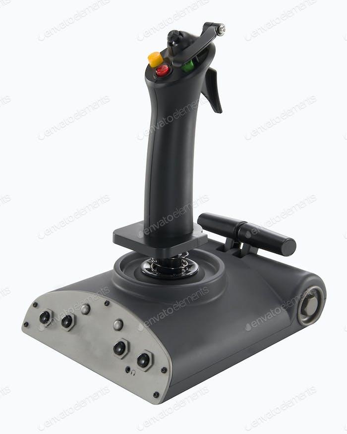 Modern flight joystick isolated on white