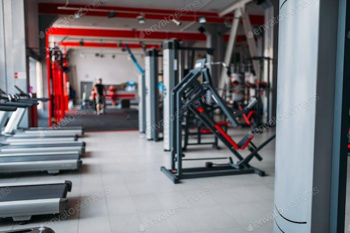 Gym interior, nobody, sport equipment