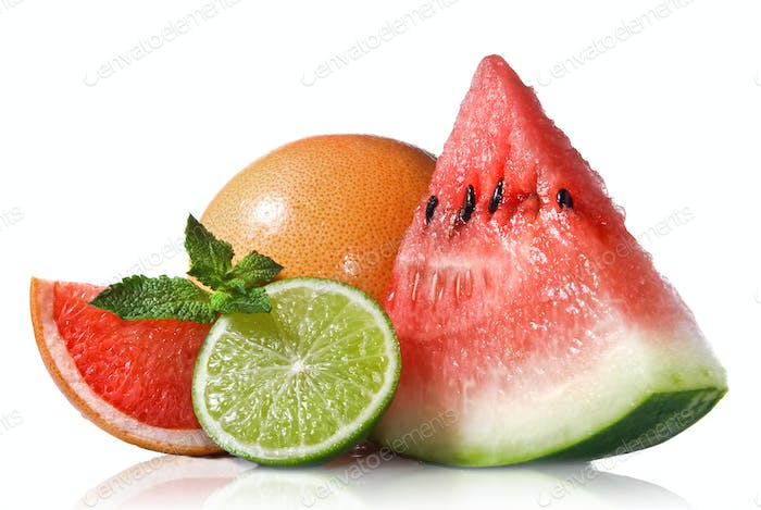 Thumbnail for Watermelon, grapefruit and lime with mint isolated on white