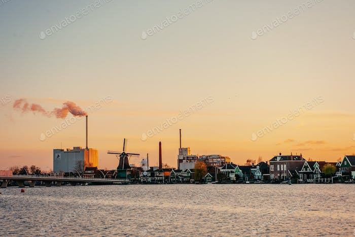 Sunset over the mill. Rotterdam. Holland.