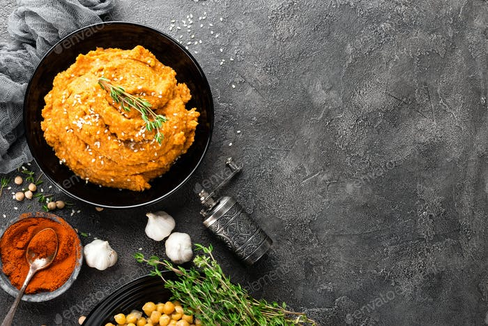 Hummus. Fresh homemade сhickpea hummus in bowl