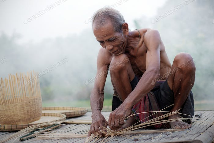 Old people with basketry