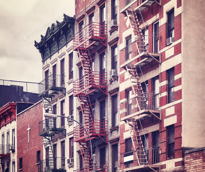 Fire escapes, one of the New York City symbols, USA.