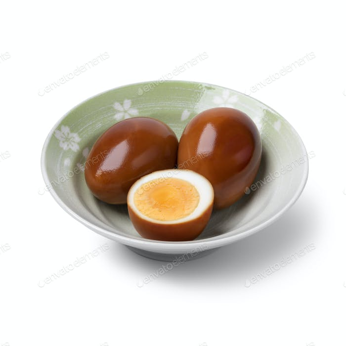 Bowl with whole and half soy sauce eggs, Shoyu tamago